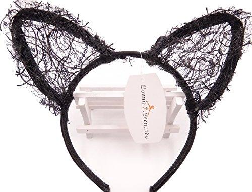 [Bonnie Z. Leonardo Sequin Kitten Ears Headband Headbands Elegance Black Rose Set] (Sexy Sequin Kitty Costumes)