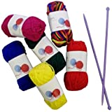 Craft Knitting Starter Kit 5mm Needles 6 Balls of Wool 20g Multi-Coloured Hobby