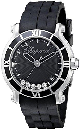 Chopard Happy Sport Round Floating Diamonds Steel Womens Luxury Watch Rubber Strap 278551-3002