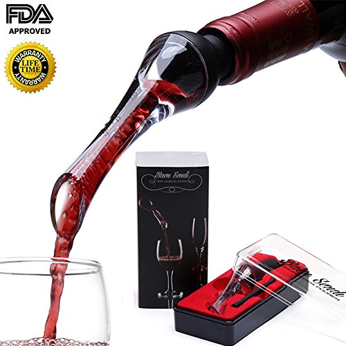 Wine Aerator Pourer - Upscale Aerating Wine Pourer - Premium Wine Decanter Spout - Air Aerator - Best Stopper for Red, White Wine and Whiskey - Easy
