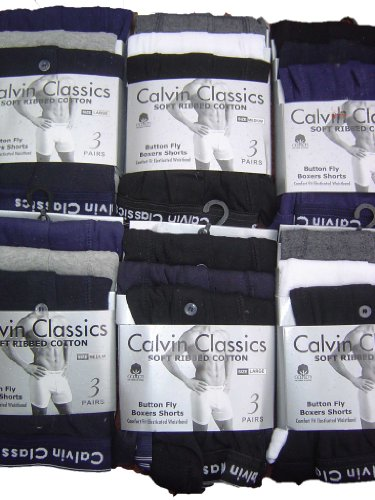 Mens 12 Pair Of Mixed Colours Calvin Classics Button Fly Boxer Shorts Pants Briefs Underwear XXL 2XL