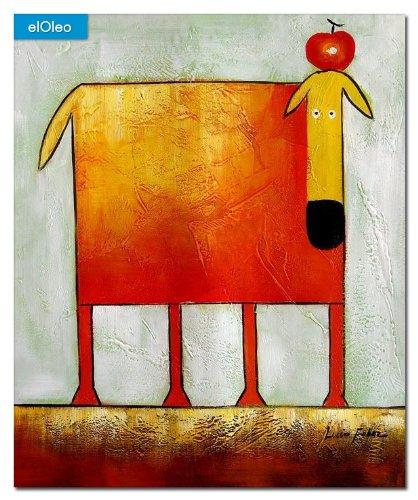 elOleo Pop Art – Der lustige gelbe Hund 60×50 Gemälde auf Leinwand handgemalt 83241A online kaufen