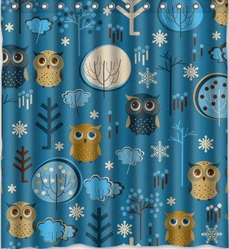 Stylish Fabric Bathroom Curtain Custom Cute Cartoon Owl In The Forest Shower Curtain 66 * 72 (13 Holes) back-550412