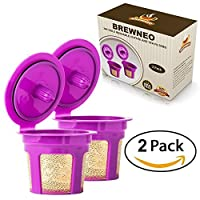 Brewneo - 2 Reusable K Cup Coffee Filters for Keurig 2.0 - K200, K300, K400, K500 Series and 1.0 Brewers - 24k Gold Plated Mesh - Set of 2 Refillable K-Cups