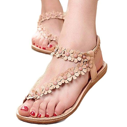Start women Comfortable Summer Bohemia Sandals Clip Toe BeachShoes Herringbone Shoes (US=10, Khaki)