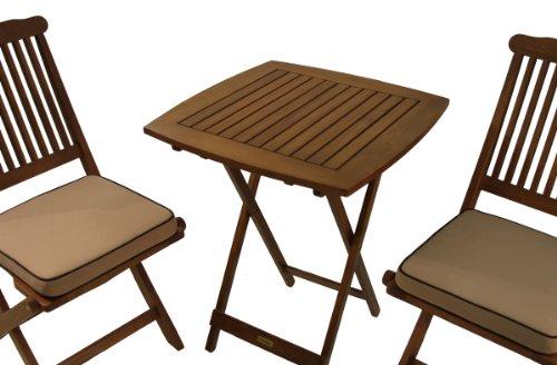 Outdoor Interiors Eucalyptus 3 Piece Square Bistro Outdoor Furniture Set In