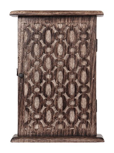 Store Indya Wall Mounted Key Holder Cabinet Organizer Wooden Storage Box with Floral Motif and 6 Hooks Antique Finish (10 x 7 Inches) 3