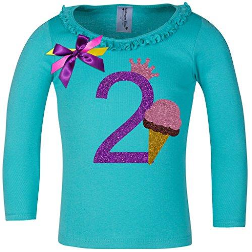 Bubblegum Divas Baby Girls' 2nd Birthday Ice Cream Cone Long Sleeve Shirt (Blue Bubblegum Ice Cream compare prices)
