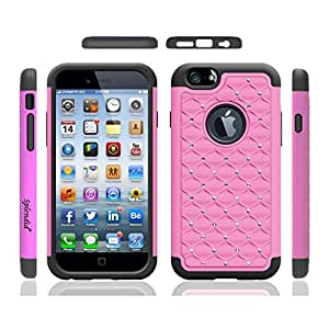 Splendid(TM), iPhone 6/6s plus drop protective case, iPhone 6/6s plus armor box case, fancy shockproof bling diamond rhinestones ballistic hybrid dual layer full body shock absorbing protective light pink case cover for iPhon
