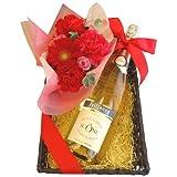ワインとフラワーギフト 赤とピンクのお花のセットとフランスのスパークリングワイン、750ml、バスケット入り
