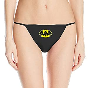 Famouse Superher Batman Primary Logo Women's Black G String Panties Thong