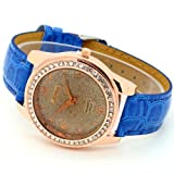 Conbays Blue Band Brown Round Dial Crystal Girls Quartz Wrist Watch Women Lady Gift Luxury