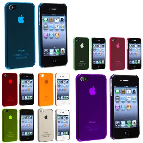 8-Pack Slim Fit Snap On Case For Apple Iphone 4 4S (Blue, Purple, Red, Orange, Yellow, Clear Smoke, Clear Green, Clear Pink)