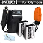 2 Pack Battery And Charger Kit Bundle For Olympus TOUGH TG-1 iHS, TG 1 iHS, TG-2 iHS, TG-2iHS, TG-3, TG-4 Waterproof Digital Camera Includes 2 Extended Replacement (1500Mah) LI-90B, LI-92B Batteries + Ac/Dc Rapid Travel Charger + Floating Strap + More