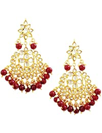 Mehrunnisa Traditional Gold Tone Kundan & Red Beads Earrings With Free Kan Chain For Women (JWL1394)
