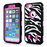 Meaci® Cellphone Case for Iphone 6 Plus 5.5 Inch Case 3 in 1 Combo Hybrid High Impact Body Armorbox Hard Pc&silicone Protective Bumper Case with Zebra Luxury Print (pink zebra)