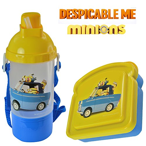 Despicable Me Minions Kids 2 Piece Reusable Lunch Container Kit - Canteen Water Bottle with Snack Compartment and Sandwich Box - 1