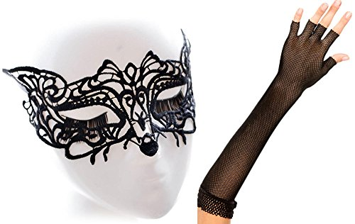 [Anmengte Halloween Masquerade Party Cosplay Costume Accessories Gloves+Eye Mask (One size, 4-2)] (Homemade Kids Nurse Costumes)