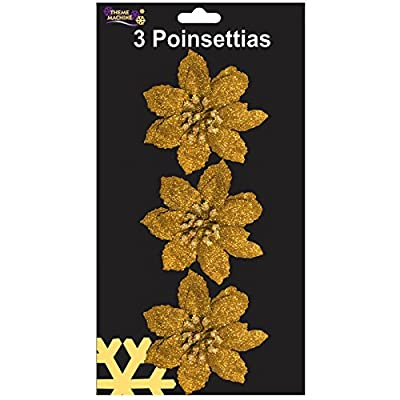 3 Clip On Christmas Poinsettia Flower Decorations 10cm GOLD