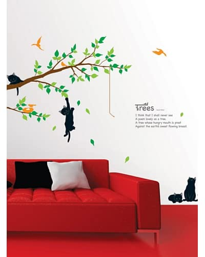 Ambiance Live Vinilo Decorativo Tree and catss Multicolor