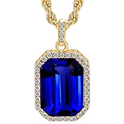 Cuccu 14K Gold Plated Mens Iced Out Blue Ruby Octagon Hip Hop Pendant with 3mm 24\