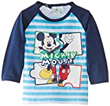 Disney Baby-Boys Mickey Mouse Striped T-Shirt, Blue (Estate Blue/Cyan), 6 Months