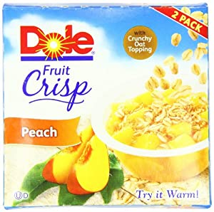 Dole Fruit Crisp, Peach, 2 Count Cups (Pack of 8)