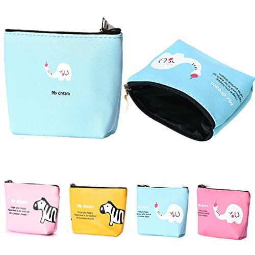 DZT1968(TM)Women Waterproof Cute Small Mini Square Wallet Coin Purses Money Pouch Makeup Key Bags With Zipper Gift