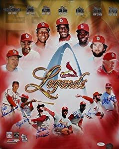 St Louis Cardinals Legends Autographed 16x20 HOFers Photo- X Authenticated - JSA...