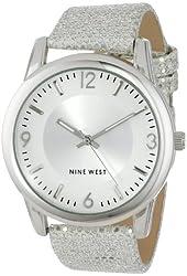 Nine West Women's NW/1425SVSV Silver-Tone Sparkle Strap Watch