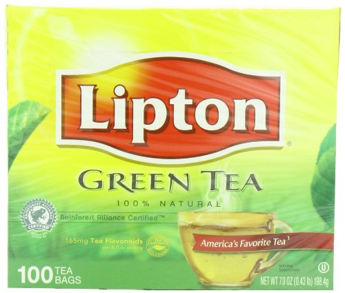 Lipton Green Tea 100% Natural 100 Tea Bags Net Wt 7.0oz