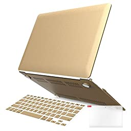 iBenzer - 3 in 1 Soft-Skin Plastic Hard Case Cover & Keyboard Cover & Screen Protector for Macbook Air 13.3\'\' NO CD-ROM (A1369 / A1466), Gold MMA13GD+2