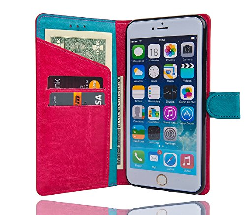 Iphone 6 Plus Case - Wallet Wallets Premium Slim Wallet Case with Magnetic Clasp Verizon - ATT - T-Mobile Red
