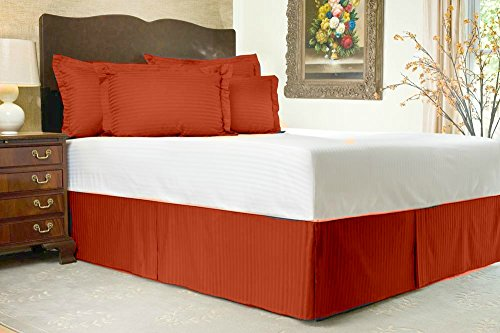 Luxurious Living 500 Thread Count 100% Egyptian Cotton Striped Brick Red Cal-king Bed Skirt with 18 Drop Length by HotHaat lacasa bedding 400 tc egyptian cotton fitted sheet 17 extra deep pocket italian finish solid queen brick red