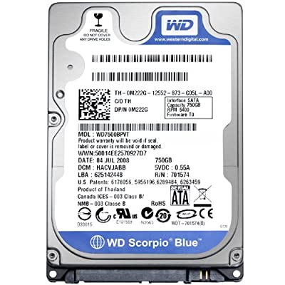 750GB Western Digital 2.5 inch Scorpio Blue 5400rpm SATA 3GB/s 8MB Cache Internal Hard Drive from Western Digital OEM