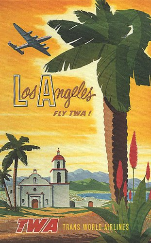 LOS ANGELES CALIFORNIA AIRPLANE AIRLINES TRAVEL TOURISM SMALL VINTAGE POSTER CANVAS REPRO