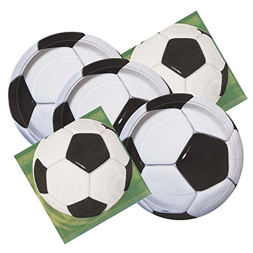 Soccer Ball Themed Birthday Party Plates & Napkins Serves 16 (Birthday Supplies Soccer compare prices)