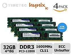 Timetec 32GB KIT (4*8GB) Module Dual Rank PC3-12800 DDR3-1600(CL11) 2Rx8 240-Pin 1.35V Unbuffer DIMM ECC Server Workstation Memory Upgrade (p/n 71HN16EUL2R8-8G), Server Premier Hynix RAM Chip for Supermicro: A+ Server 1012A-