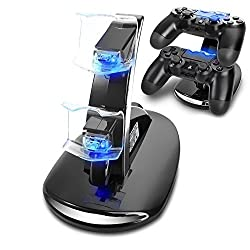 T&T Ps4 Controller Charge Station 2x Usb Simultaneous Charger Dual Charging Dock Cradle Stand Accessory For Sony Playstation 4 Gaming Control With Led Indicator + Micro Cable (Black) [Playstation 4]
