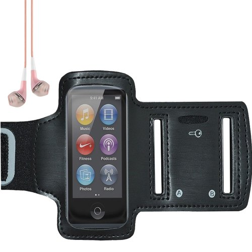 Workout Running Gym Armband Case For Apple Ipod Nano 7 (Black) + Vangoddy Headset With Mic (Pink Earphones)