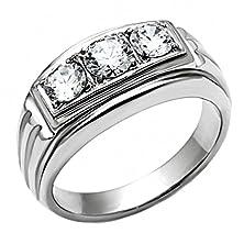 buy Navarro: Mens 1.0Ct Ice On Fire Cz 3 Stone Journey Wedding Band Ring 316 Steel, 3048 Sz 11.0