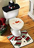 New Snowman Santa Toilet Seat Cover and Rug Set for Bathroom Christmas Decorations Set of 4