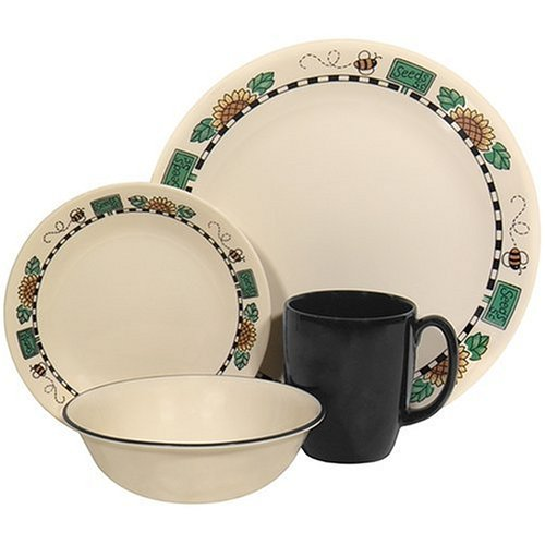 corelle livingware 16 piece dinnerware set service for 4 sunblossoms