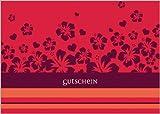 Schöne blanko Gutschein Karte mit Blumen in rot z.B. für Wellness Geschenke