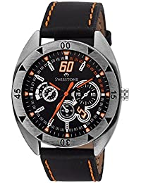 Swisstone FTREK560-BLACK Black Dial Black Strap Analog Wrist Watch For Men/Boys