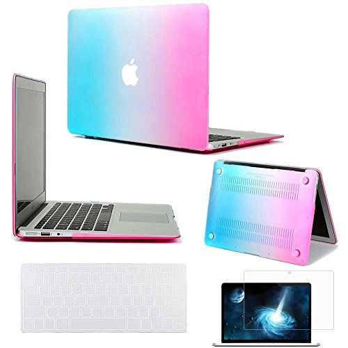 "Neway 3 in 1 bundle Matte Surface Crystal Rubberized Hard Shell Case cover protector for Apple Macbook Air 13.3"" (A1466 & A1369)& Keyboard Cover & LCD HD Screen protector,13.3"" Air,Rainbow(bundle)"