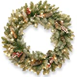 National Tree 24-Inch Dunhill Fir Wreath with Snow/Red Berries/Cones/50 Snow Lights