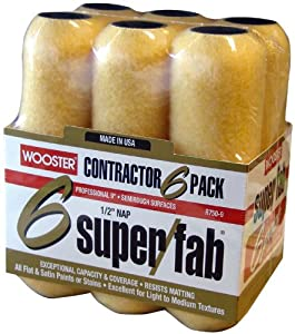 Wooster Brush R750-9 Super/Fab Roller Cover, 1/2-Inch Nap, 6-Pack , 9-Inch