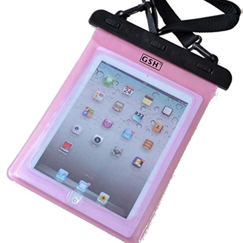 7-10 インチ タブレット用防水ケース 首掛けストラップ付き ipad 2/3/4 Air1/2/ipad mini/ ARROWS Tab/dtab/ASUS/Xperia tablet/Galaxy note10.1 ピンク