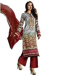 Admyrin Grey Cotton Printed Salwar Kameez With Maroon Chikan Work Bottom